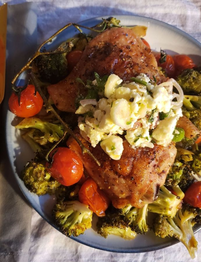 Sheet Pan Chicken Thighs and Veggies with Marinated Feta