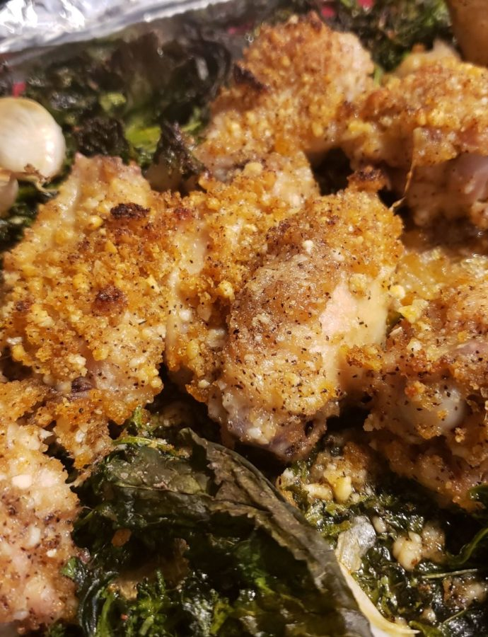 Sheet Pan Parmesan Crusted Wings with Broccoli Rabe