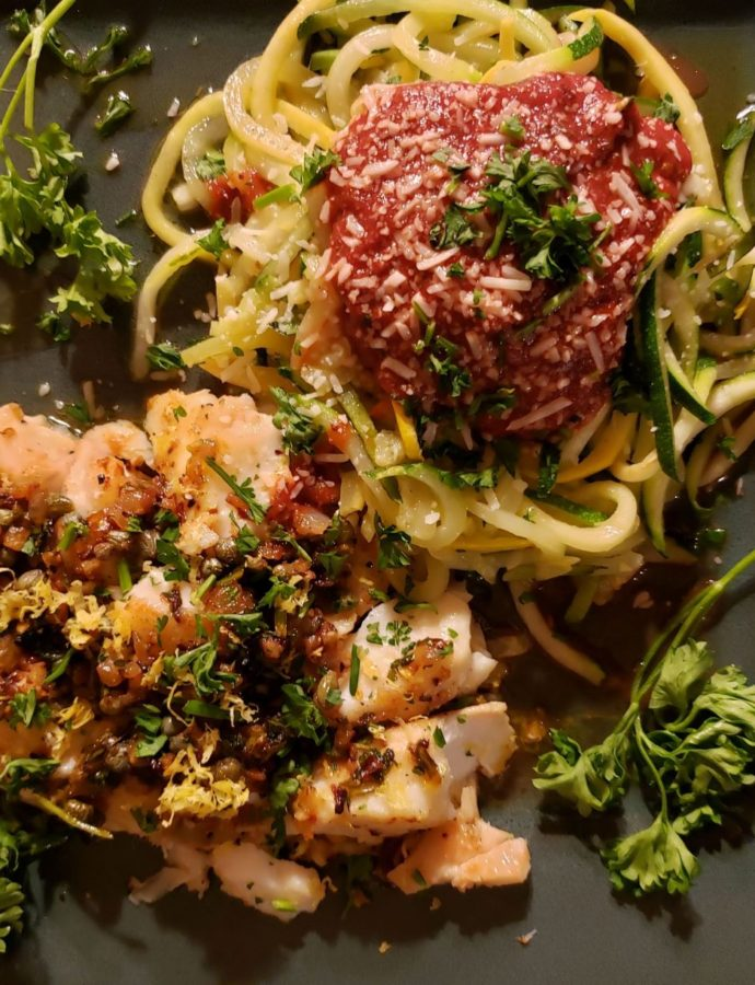 Lemon Butter Cod with Zoodles