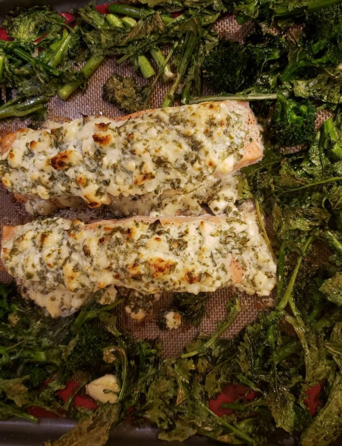 Garlic Herb Feta Topped Salmon Sheet Pan Dinner