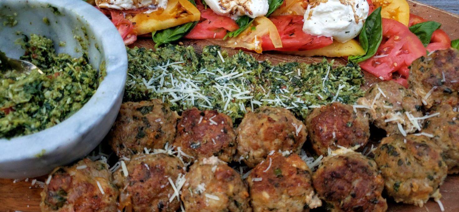 Low Carb Pesto Meatballs