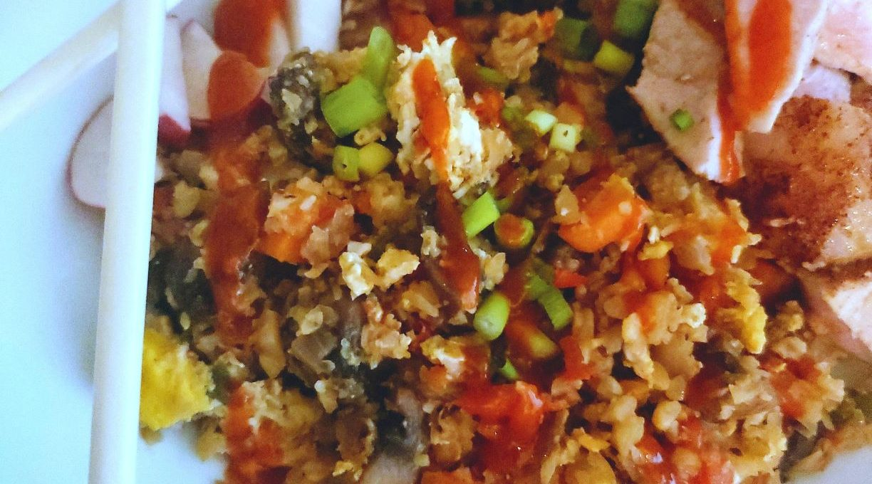 Cauliflower Fried Rice with 5 Spice Pork Loin